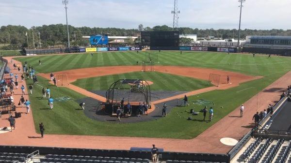 MLB players taking batting practice at Charlotte Sports Park