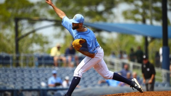 Rays pitcher Nick Anderson throws a pitch
