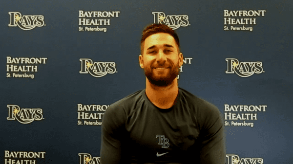 Rays outfielder Kevin Kiermaier grins as he returns from paternity leave