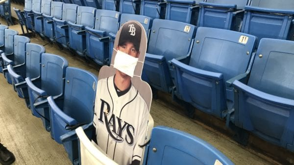 Cardboard cutout of former Rays 1B Dan Johnson, occupying the seat where his home run in game 162 landed