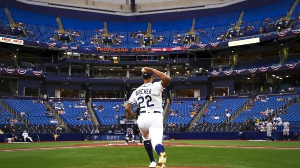 Chris Archer throwing warmup pitches at Tropicana Field