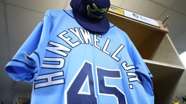 Brent Honeywell's jersey hanging in his locker before his MLB debut