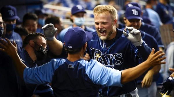 Austin Meadows celebrates after hitting his first home run of the 2021 season