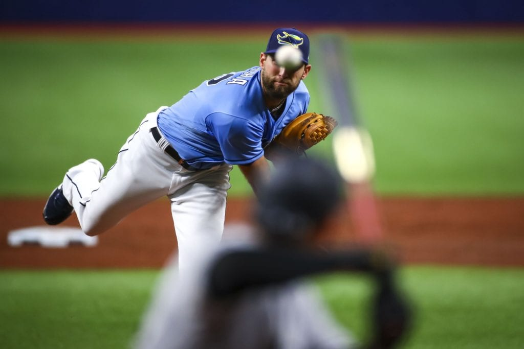 Rays pitcher Michael Wacha works against the New York Yankees