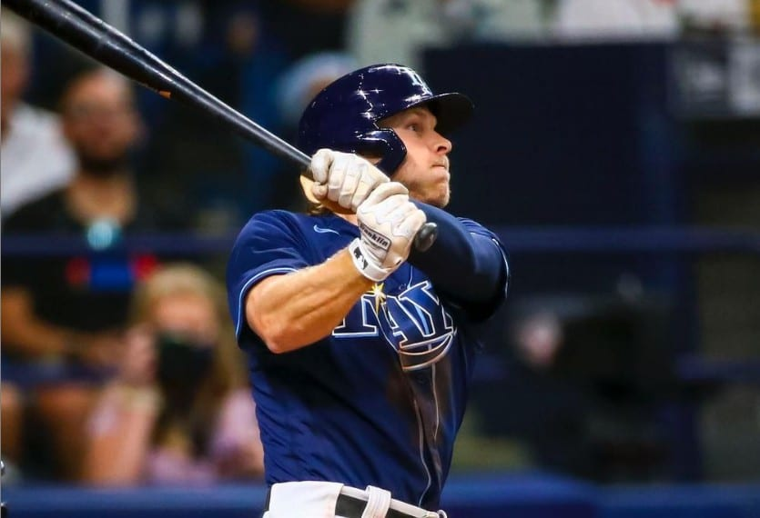 Rays shortstop Taylor Walls hits his first major league home run Wednesday at Tropicana Field. (photo: Will Vragovic/Tampa Bay Rays)