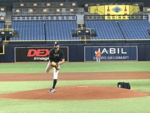 Rays pitcher Nick Anderson throwing at Tropicana Field